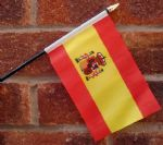HAND WAVING FLAG (SMALL) - Spain (with crest)